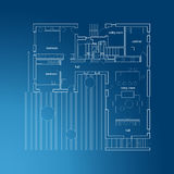 Architectural blueprint with plan. Stock Image