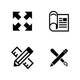 Architectural blueprint. Simple Related Vector Icons. Set for Video, Mobile Apps, Web Sites, Print Projects and Your Design. Black Flat Illustration on White Stock Images