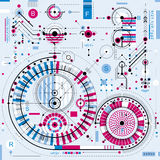 Architectural blueprint, vector digital background with differen Royalty Free Stock Photo