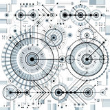 Architectural blueprint, vector digital background with differen Stock Image