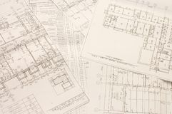 Architectural blueprints Stock Photo