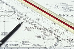 Architectural blueprints. Black line architectural blueprints showing a scale Royalty Free Stock Photography