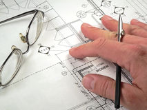Architectural Blueprints. An architect's workspace with blueprint in progress Stock Photo