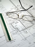 Architectural Blueprints. An architect's workspace with blueprint in progress Stock Photos