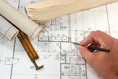 Architectural Blueprints Royalty Free Stock Photography