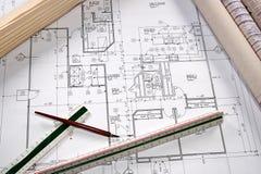 Architectural Blueprints Stock Photo