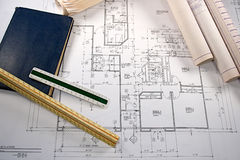 Architectural Blueprints stock image