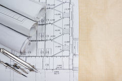 Architectural blueprints, blueprint rolls, compass divider, calc Royalty Free Stock Photography