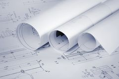 Architectural blueprints and blueprints rolls royalty free stock images