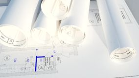 Architectural blueprints stock video footage