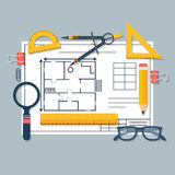 Architectural blueprints and drawing tools. Workplace of archite. Ct. Draft plan of building house. Vector, flat. Drawing, ruler, compass, protractor, magnifying Royalty Free Stock Image