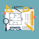 Architectural blueprints and drawing tools. Workplace of archite. Ct. Draft plan of building house. Vector, flat. Drawing, ruler, compass, protractor, magnifying Stock Images