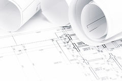 Architectural blueprints with house plans Royalty Free Stock Image