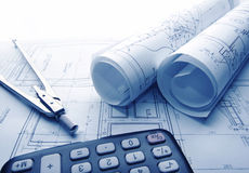 Architectural blueprints rolls royalty free stock image