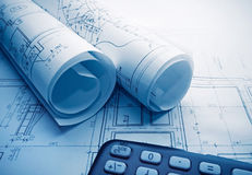 Architectural blueprints rolls. Royalty Free Stock Image