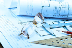 Architectural blueprints rolls Royalty Free Stock Photos