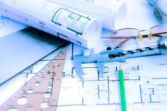 Architectural blueprints rolls and engineering items Stock Photo