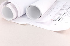 Architectural blueprints rolls and house plan Royalty Free Stock Photography