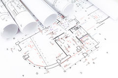 Architectural blueprints rolls Royalty Free Stock Images