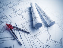 Architectural blueprints rolls Stock Images