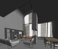 Architectural sketch drawing Royalty Free Stock Image