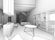 Architectural sketch drawing royalty free stock photos