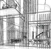Architectural sketch drawing stock photography