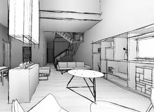 Architectural sketch drawing Stock Photos
