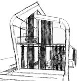 Architectural sketch drawing Stock Photo