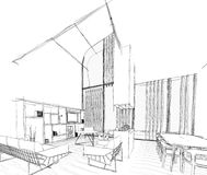 Architectural sketch drawing. Architectural build sketch drawing and furniture 3d model stock illustration