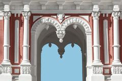 Architectural building with arches, stucco, pilasters. Architectural building with arches stucco, pilasters stock photo