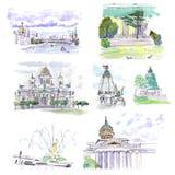 Architectural building Landmarks Watercolor sketch vector illustration