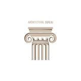 Architectural bureau logo template. With ionic column Stock Photos