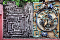 Architectural ceramic details on a temple Stock Image
