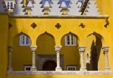 Architectural close up of arch columns in the court of Pena National Palace. SINTRA, PORTUGAL - OCTOBER 25 2014: Architectural close up of arch columns in the Stock Image