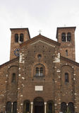 Architectural close up of the facade of San Sepolcro church royalty free stock photos