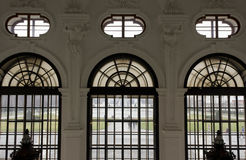 Architectural close up from inside of the windows of Shloss Belvedere Royalty Free Stock Photography