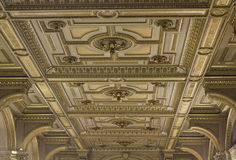 Architectural close up of the ornamental ceiling of Vienna Opera house stock photography
