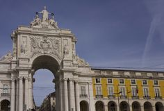 Architectural close up of Rua Augusta arch and colonnade. LISBON, PORTUGAL - OCTOBER 24 2014: Architectural close up of Rua Augusta arch and colonnade in Lisbon Royalty Free Stock Photos