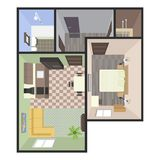 Architectural Color Floor Plan. Bedrooms Apartment. Vector illustration Royalty Free Stock Photo