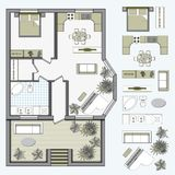 Architectural Color Floor Plan Stock Photo