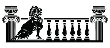 Architectural columns Greek style and Lion silhouette Royalty Free Stock Image