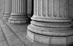 Architectural Columns on the Portico of a Federal Building in Ne. W York City royalty free stock photo