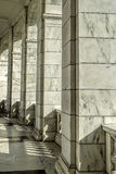Architectural columns in sunlight. Finely detailed columns bathed in sunlight in Arlington, Virginia Stock Images