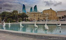 The architectural complex on Azneft Square in the early evening hour. Architectural complex on Azneft Square in the evening before summer royalty free stock images
