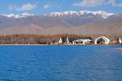 Architectural complex on bank of Issyk-Kul Lake Royalty Free Stock Images