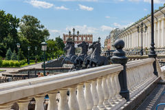 Architectural complex of Manezhnaya Square with sculptures near the Moscow Kremlin. Royalty Free Stock Photos