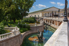 Architectural complex of Manezhnaya Square with sculptures near the Moscow Kremlin Royalty Free Stock Images