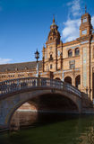 Architectural complex of Plaza de Espana in Seville. Architectural details of the buildings and brdges of Plaza de Espana in Seville Royalty Free Stock Photo