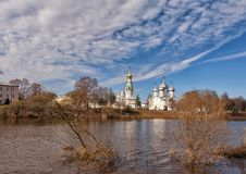 Architectural complex in Vologda. Architectural complex on a cathedral hill in Vologda - Sofia cathedral, Belltower, church of Alexander Nevsky Stock Image